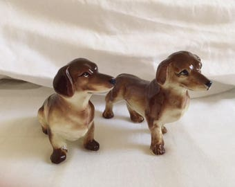 Vintage Pair Dachshund Puppy Dog Salt and Pepper Shakers