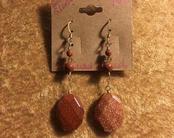 14k Gold Filled and Goldstone Earrings