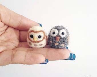 Needle Felted miniature Owl woodland pocket toy gift