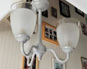 Chandelier vintage lighting Grey pendant light & glass lamp shades, flush ceiling light fixture upcycled in Annie Sloan Paris Grey + gilding