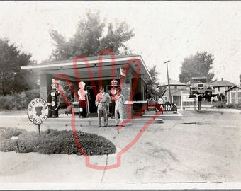 """RED CROWN GASOLINE Station Digital Image Photograph Atlas Tire Circa 1920s Car on Lift Black and White 5"""" by 7""""  Owners Gas Automobile"""