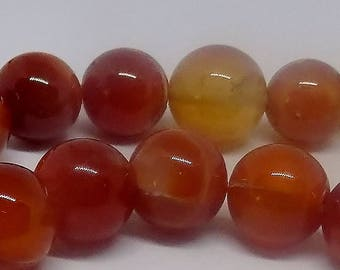 Red 14-16mm Round Natural Agate Gemstone Beads (26 pieces)