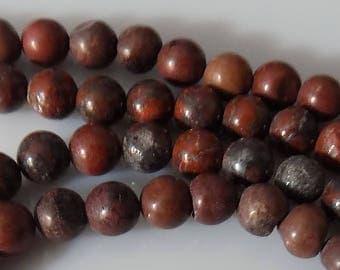 "Mahogany 6mm Round Natural Brecciated Jasper Gemstone Beads (15"" Strand)"