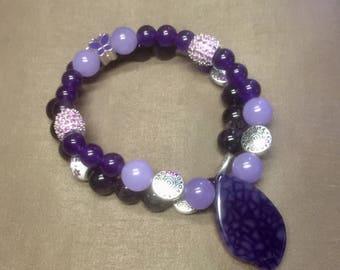 Purple beaded bracelet set