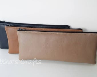 Vinyl faux leather zipper pouch,Storage bags,Pencil case,Makeup bag,Back to school,Gifts for him,Gifts for her