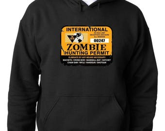 HOODIE International Zombie Hunting Permit Hoodie Funny Halloween Sweatshirt