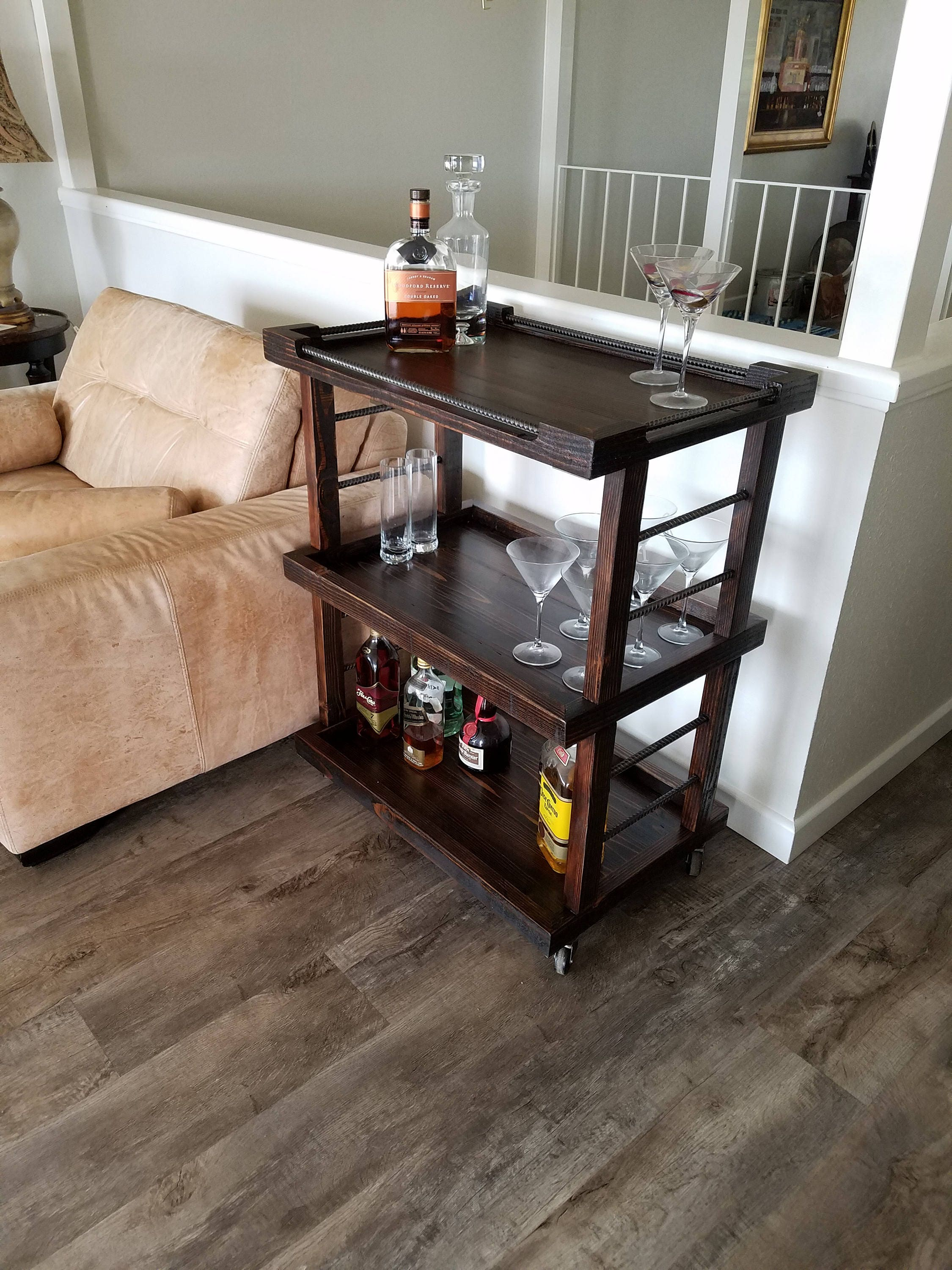 reclaimed wood bar cart rustic bar cart. Black Bedroom Furniture Sets. Home Design Ideas