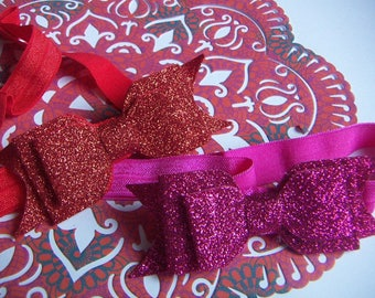NEW  Glitter Lovely Hair Bow Headband Christmas Red & Fuchsia Pink Bowknot 2pcs  Valentine Day