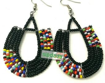 Maasai Earrings, African earrings, Kenyan earrings, Masai earrings, Masai jewelry, maasai jewelry, African jewelry, Black earrings(EA0004)