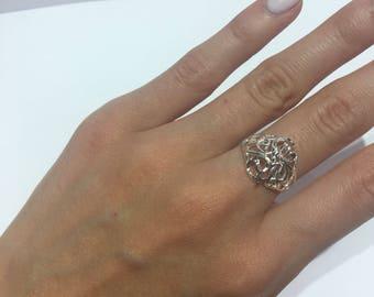 Vintage Streking Silver Carved Design Ring