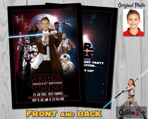 Star Wars Invitation - The Last Jedi Birthday Invite with customizable photos - Jedi Boy and Jedi Girl