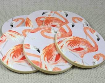 Flamingo Coasters, Set of 6, Flamingo Gifts, Pink Flamingo, Pink Home Decor, Wedding Coasters, Housewarming Gift, Coasters, Coaster Set