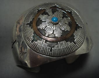 Snake Eye Turquoise Basket Vintage Navajo Silver Bracelet