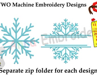 Frozen Snowflake Embroidery Design-Snowflake Split Monogram Frame-Christmas Embroidery Design-Embroidery Pack-Bundle-Instant Download-PES