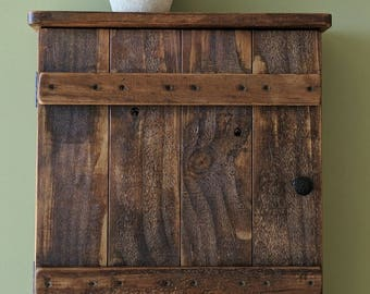 Rustic Wall Cabinet with Towel Bar made from Reclaimed and Repurposed Pallet Wood