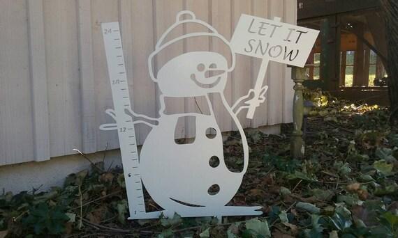 "24"" Snowman Snow Gauge, white powder coated steel"