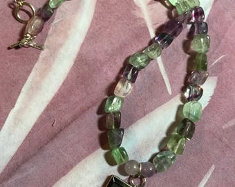 Handmade by Shae Hanke fluorite and vintage postcard necklace
