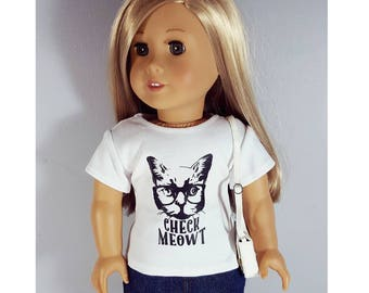 18 inch doll clothes - cat graphic shirt