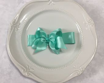 Mint green satin ribbon bow headband - Baby headband - Satin bow headband - Mint green satin headband - Bow headband Girls hair accessories