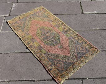 "Turkish Small Rug Antique Wool Anatolian Hand Knotted Carpet 22.4"" x 39.4"" - 02"