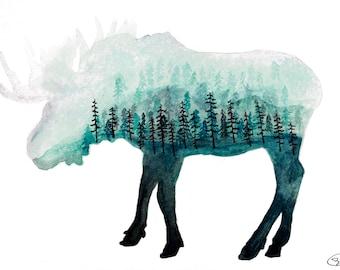 Moose Print on Somerset Velvet