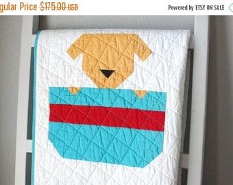 ON SALE Baby Quilt, Puppy Dog Quilt, Animal Baby Blanket, Heirloom Baby Quilt, Dog Themed Nursery Decor, Toddler Blanket, Blue Cotton Quilt