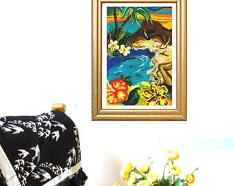 ON SALEcij 20% off Holiday Dreamz, Original Wool Painting, Needle Felted Art.