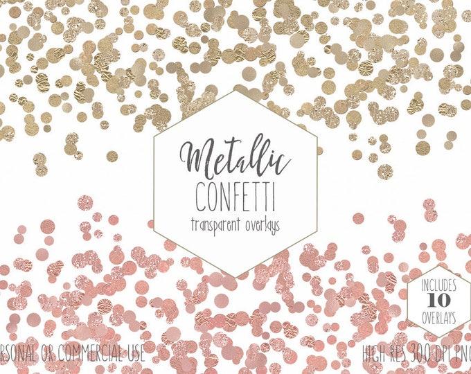 GOLD FOIL CONFETTI Clipart Commercial Use Clip Art Confetti Border Overlays Metallic Rose Gold Party Wedding Invitation Digital Graphics