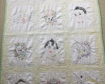 Baby Vintage baby quilt handmade white back - super soft- no holes or stains - some wear for age