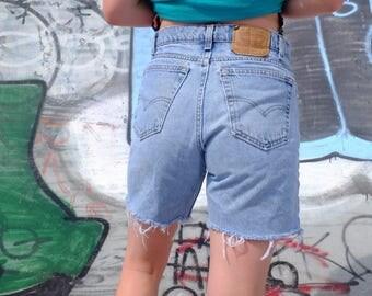 Vintage 90s Levi Strauss Denim Cut offs - 90s Light Wash Jean Shorts - Distressed Levis - 550 Levis - 34 Waist