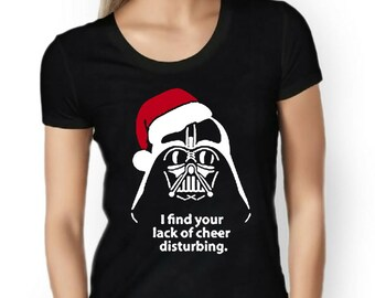 Womens Designer Darth I Find Your Lack Of Cheer Disturbing Printed Cotton Black T-Shirt