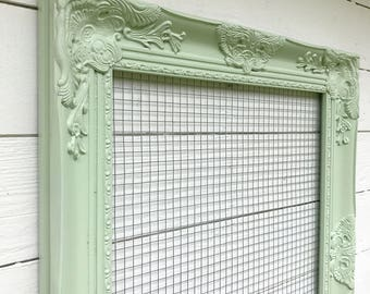 Green Ornate Frame, Jewelry Holder, Shabby Chic Memo Board, Farmhouse Decor, Office Organizing, Green Home Decor