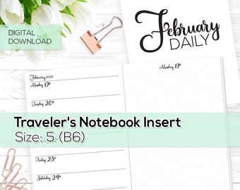 Day on 1 Page - TN Inserts - February 2018 - B6 / Size No. 5 | TN-DO1P-FEB-5-D Digital Download Printable