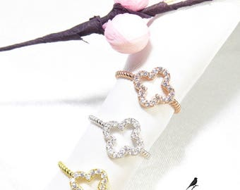 Lucky Clover Ring Cz 925 Sterling Silver Gold Rose