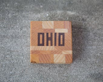 OHIO In-lay Wood Coasters, Set of 4