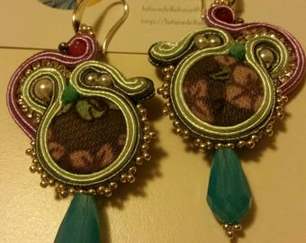 Soutache earrings with agate and Crystal, pearls, Velvet buttons