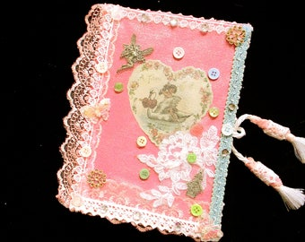 journal gifts,Cherub notebook,handmade journal,cherubs,shabby chic,victorian,guest book,cute journal,gift for a girl,unique pink notebook