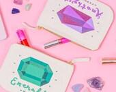 Birthday Makeup Bag - Cute Birthday Gift For Friend - Personalised Birthday Gift - Custom Birthstone - Birthstones Pouch - Alphabet Bags