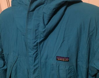 Vintage Patagonia Rain windbreaker Mens sz Large Made in USA Turquoise and Purple