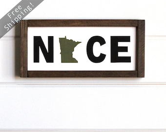 "Minnesota Nice Wood Sign, Minnesota Wood Sign, Minnesota Home Sign, Minnesota Sign, Minnesota Decor, Minnesota Wall Art, 14""W x 7""H"