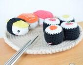 Plato de sushi, sushi kawaii, sushi amigurumi, maki, nigiri, sushi crochet, amigurumi, peluche sushi, sushi ganchillo, comida amigurumi