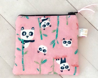 SUMMER SALE Clearance! Panda pink square zipper pouch coin purse change pouch