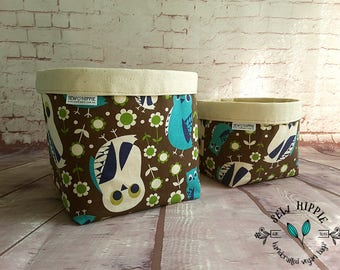 Storage Basket, Storage Tub, Owl Storage Basket, Set 2 Storage Tubs, Storage Bin, Gift Basket, Home Organiser, Makeup Organiser