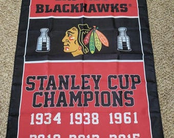 PRE-SEASON SALE 30% Off Chicago Blackhawks Championship Banner 3' x 5' Hockey