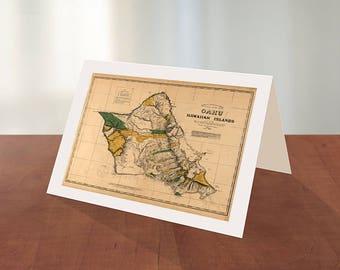Greeting card of Map of Oahu, Hawaiian islands, 1881.  Reproduction map greeting card.