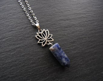 Sodalite Necklace Natural Stone Pendant Necklace Lotus Flower Necklace Stainless Steel Necklace Gift