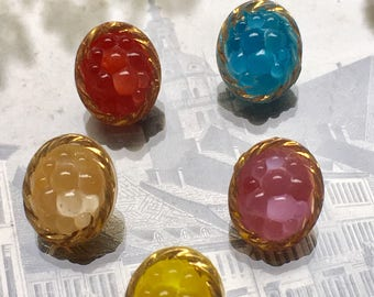 5 little berry glass buttons - hand painted and self shang (129)
