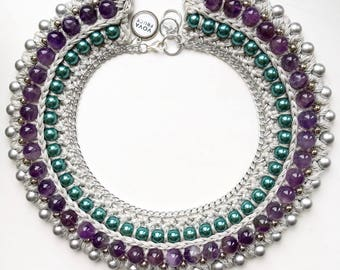 Classic Necklace with Natural Amethyst