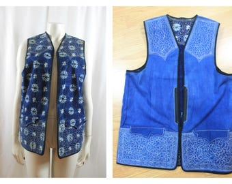 60's tie dye Blue cotton embroidered waistcoat