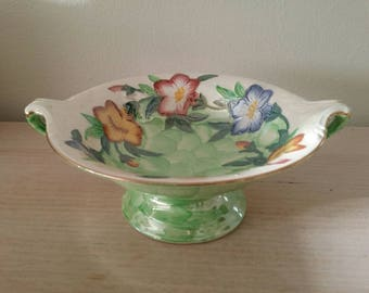 Vintage Maling Embossed Lustre English Compote